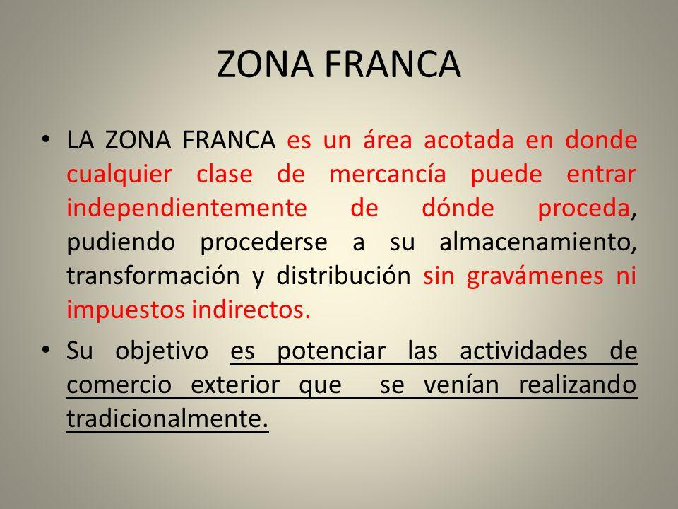 ZONA FRANCA LA ZONA FRANCA es un área acotada en donde cualquier clase de mercancía puede entrar independientemente de dónde proceda, pudiendo procede