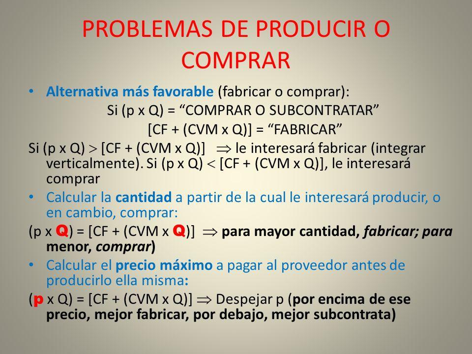 PROBLEMAS DE PRODUCIR O COMPRAR Alternativa más favorable (fabricar o comprar): Si (p x Q) = COMPRAR O SUBCONTRATAR [CF + (CVM x Q)] = FABRICAR Si (p