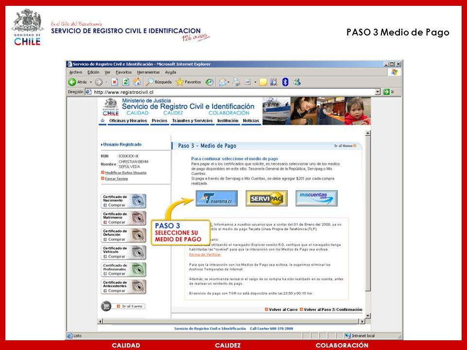 CALIDAD CALIDEZ COLABORACIÓN PASO 3 Medio de Pago