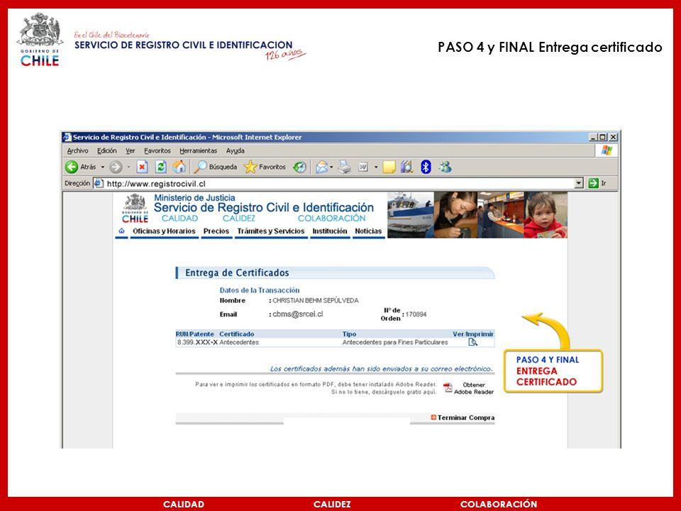 CALIDAD CALIDEZ COLABORACIÓN PASO 4 y FINAL Entrega certificado