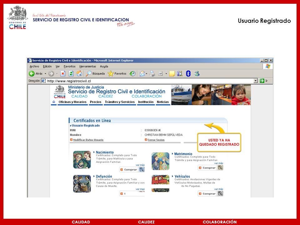CALIDAD CALIDEZ COLABORACIÓN Usuario Registrado