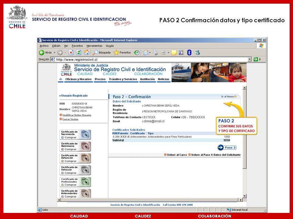 CALIDAD CALIDEZ COLABORACIÓN PASO 2 Confirmación datos y tipo certificado