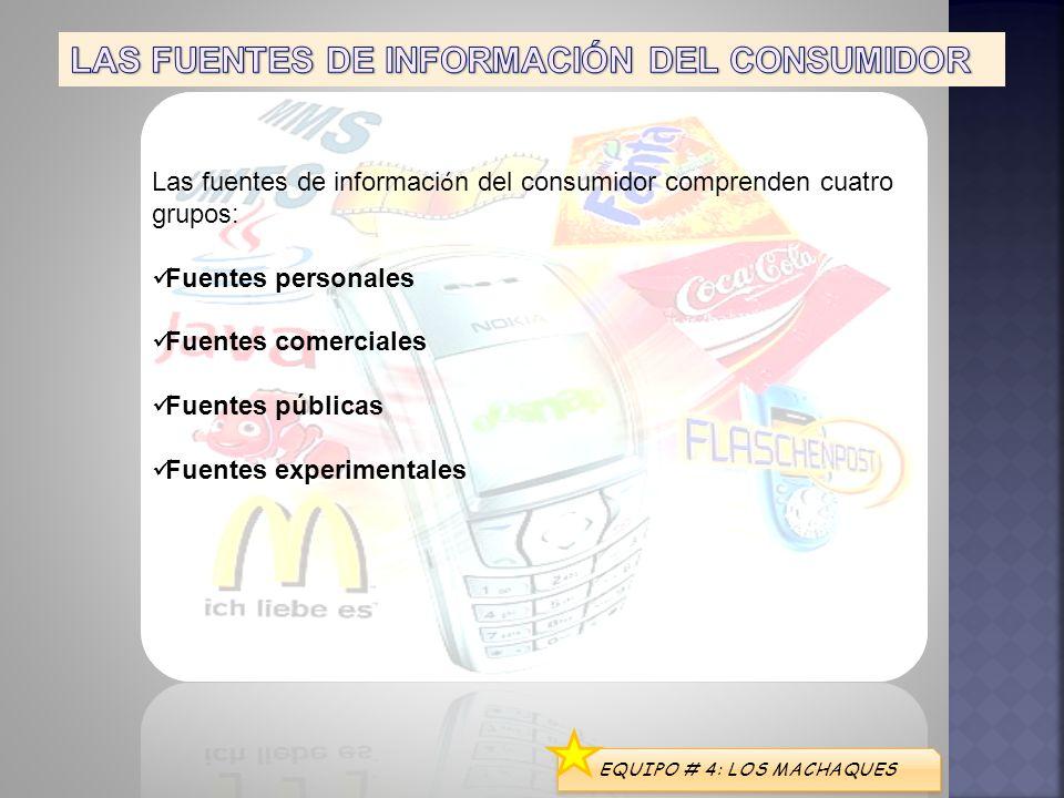 EQUIPO # 4: LOS MACHAQUES Las fuentes de informaci ó n del consumidor comprenden cuatro grupos: Fuentes personales Fuentes comerciales Fuentes pública