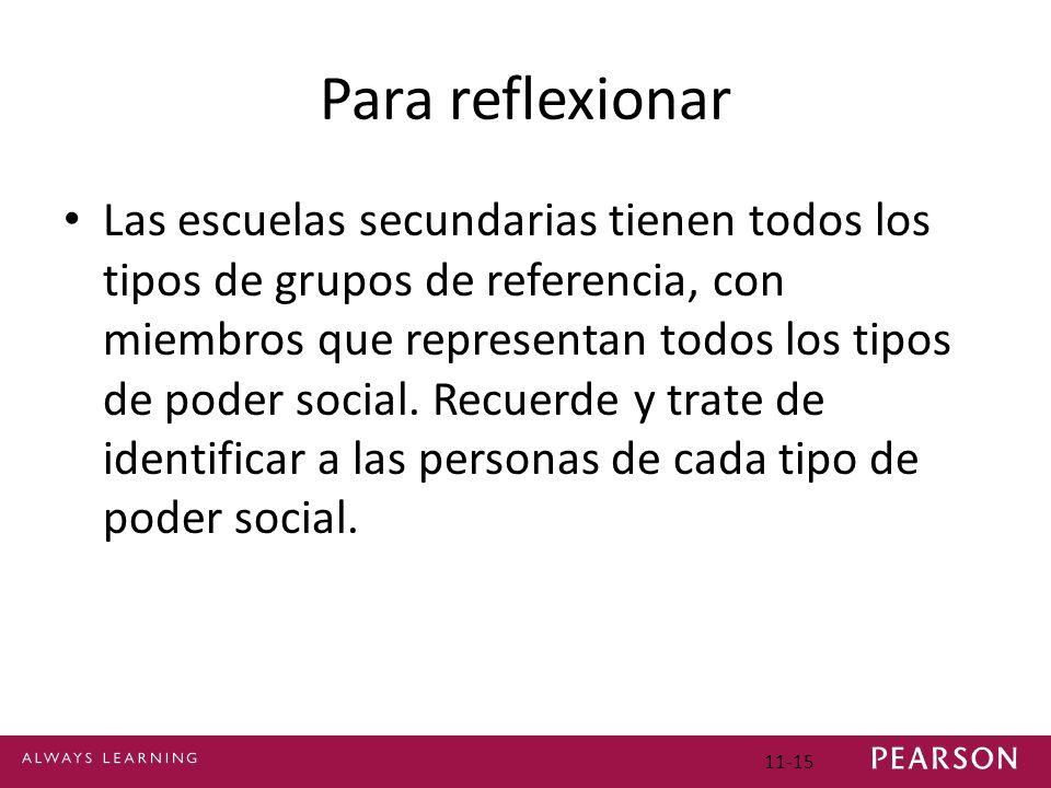Para reflexionar Las escuelas secundarias tienen todos los tipos de grupos de referencia, con miembros que representan todos los tipos de poder social