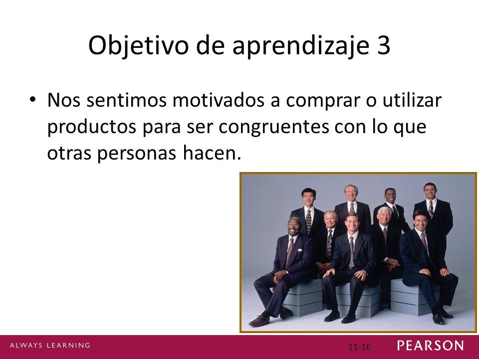 Objetivo de aprendizaje 3 Nos sentimos motivados a comprar o utilizar productos para ser congruentes con lo que otras personas hacen. 11-16