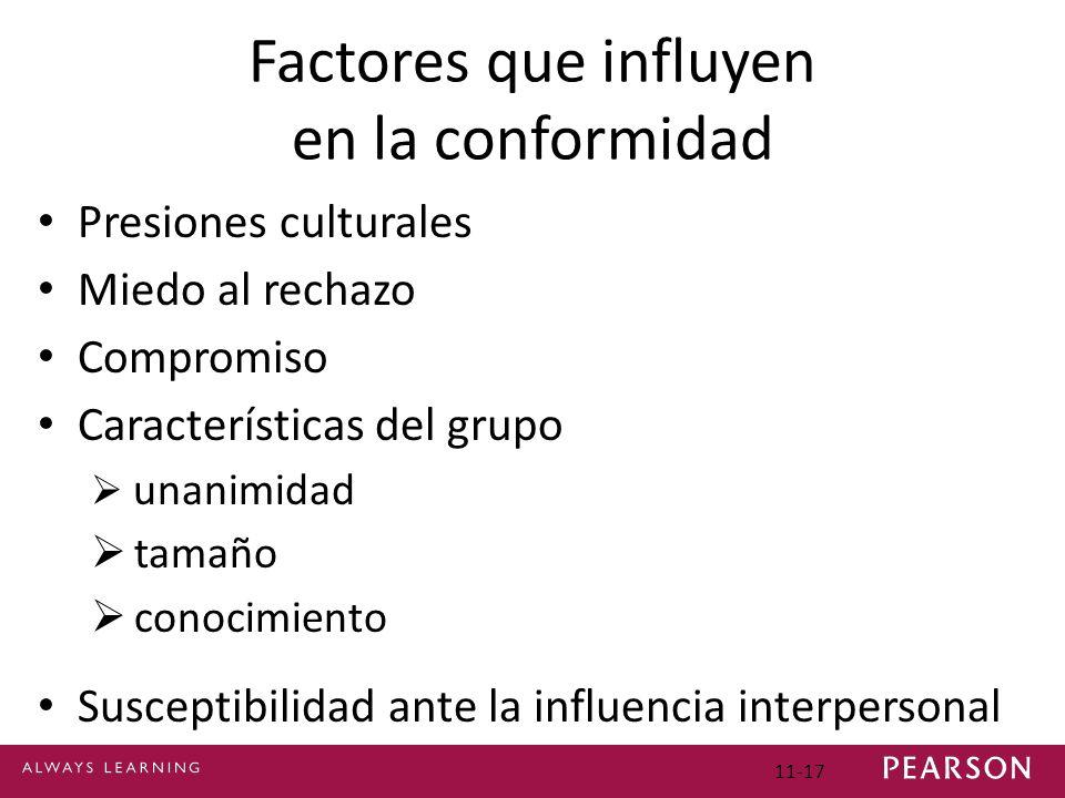 11-17 Factores que influyen en la conformidad Presiones culturales Miedo al rechazo Compromiso Características del grupo unanimidad tamaño conocimient