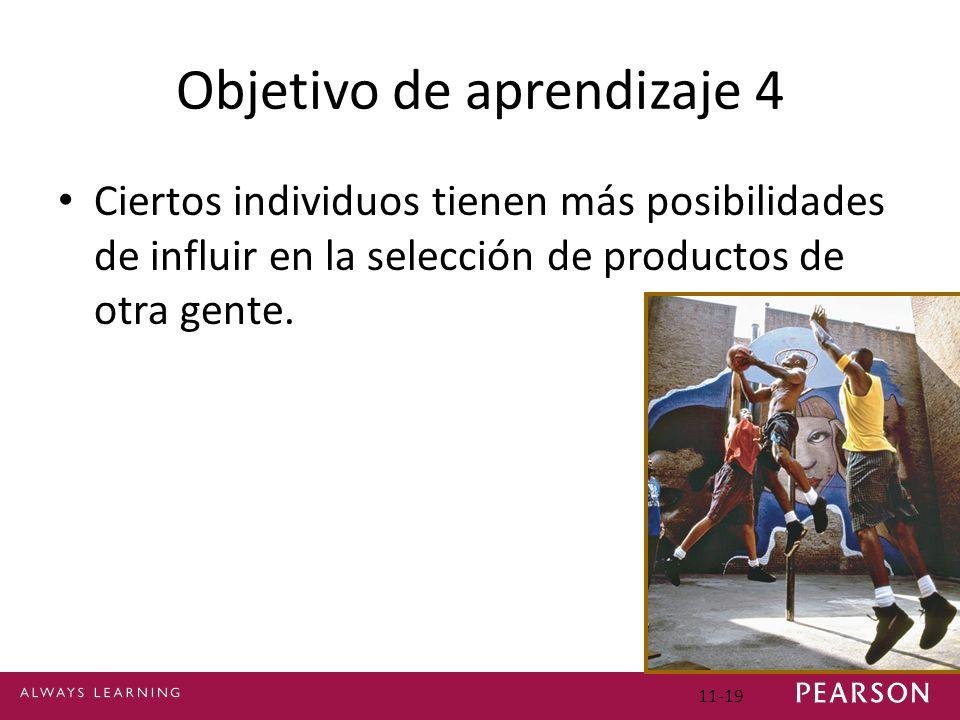 Objetivo de aprendizaje 4 Ciertos individuos tienen más posibilidades de influir en la selección de productos de otra gente. 11-19