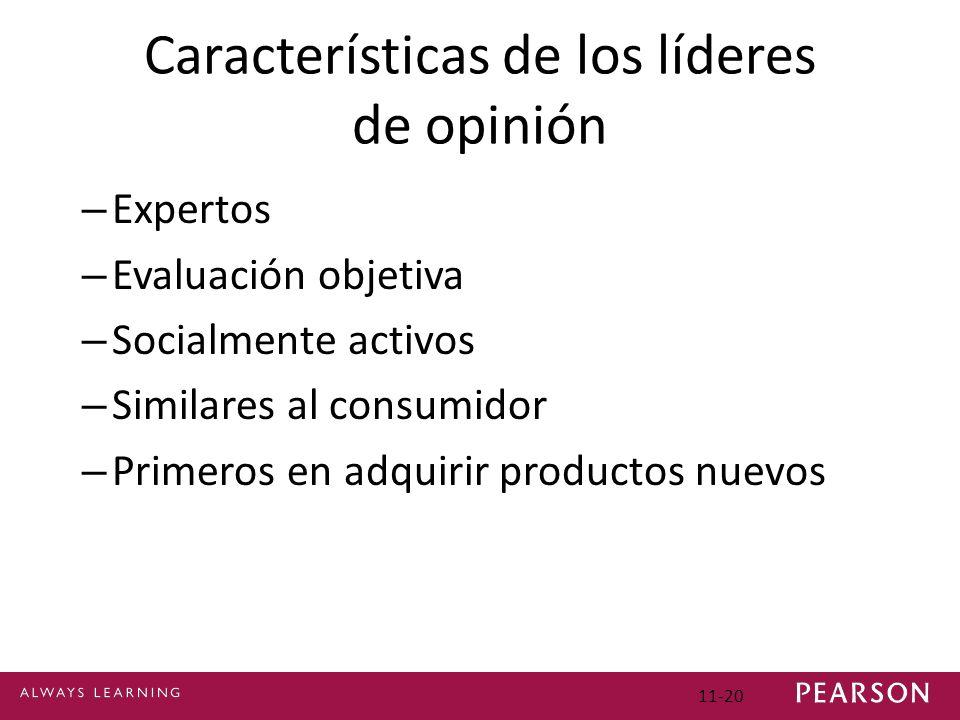 Características de los líderes de opinión – Expertos – Evaluación objetiva – Socialmente activos – Similares al consumidor – Primeros en adquirir prod