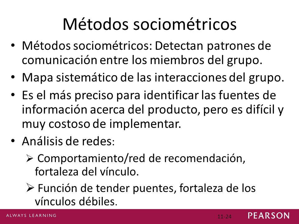 11-24 Métodos sociométricos Métodos sociométricos: Detectan patrones de comunicación entre los miembros del grupo. Mapa sistemático de las interaccion