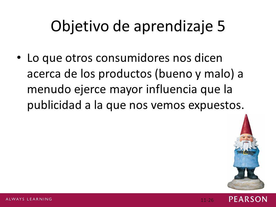Objetivo de aprendizaje 5 Lo que otros consumidores nos dicen acerca de los productos (bueno y malo) a menudo ejerce mayor influencia que la publicida