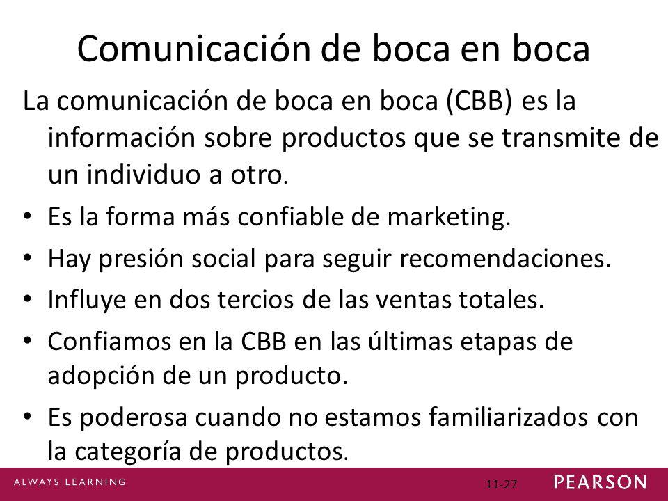 11-27 Comunicación de boca en boca La comunicación de boca en boca (CBB) es la información sobre productos que se transmite de un individuo a otro. Es