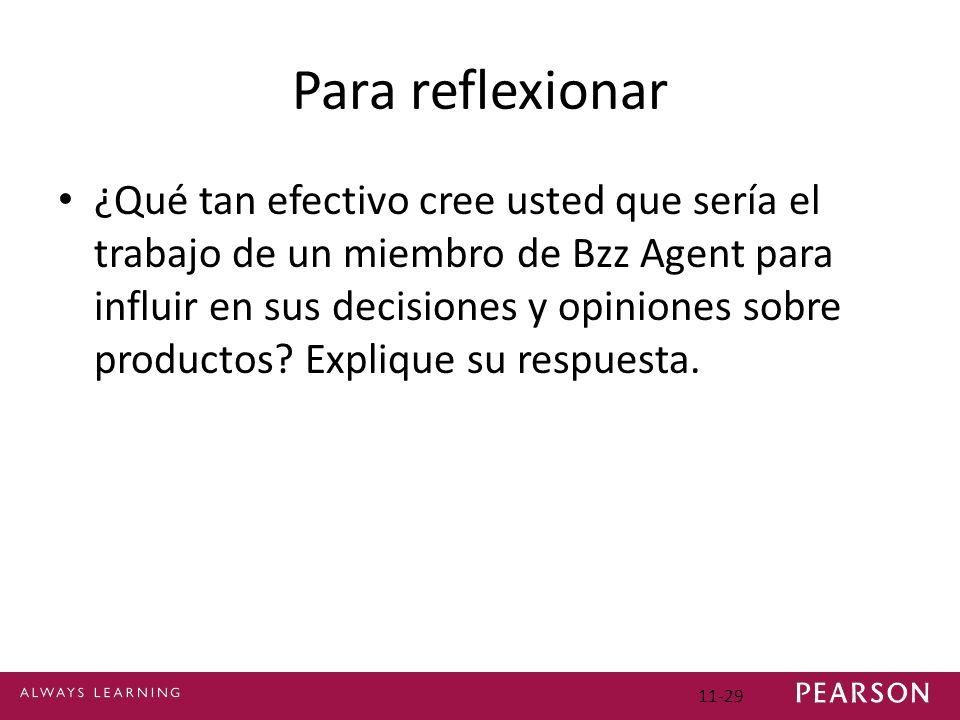 Para reflexionar ¿Qué tan efectivo cree usted que sería el trabajo de un miembro de Bzz Agent para influir en sus decisiones y opiniones sobre product