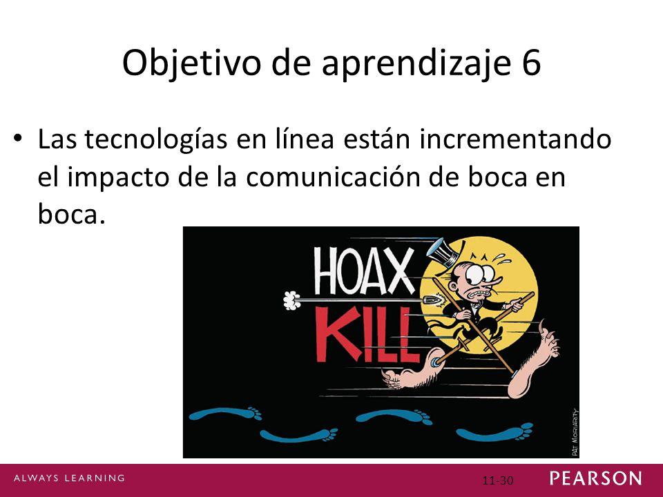 Objetivo de aprendizaje 6 Las tecnologías en línea están incrementando el impacto de la comunicación de boca en boca. 11-30