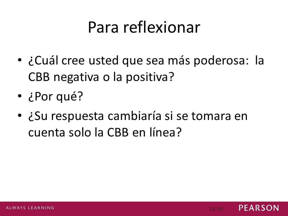 Para reflexionar ¿Cuál cree usted que sea más poderosa: la CBB negativa o la positiva? ¿Por qué? ¿Su respuesta cambiaría si se tomara en cuenta solo l