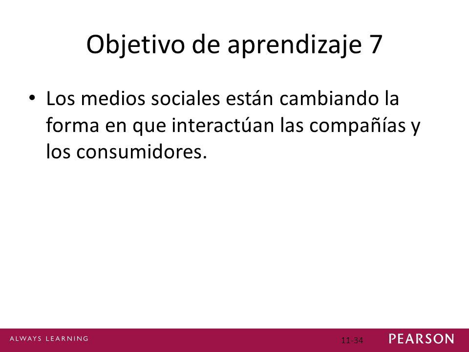 Objetivo de aprendizaje 7 Los medios sociales están cambiando la forma en que interactúan las compañías y los consumidores. 11-34