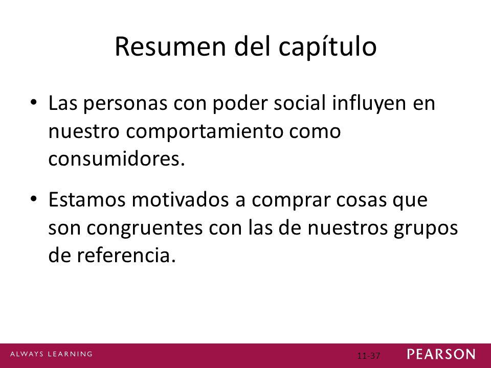 11-37 Resumen del capítulo Las personas con poder social influyen en nuestro comportamiento como consumidores. Estamos motivados a comprar cosas que s