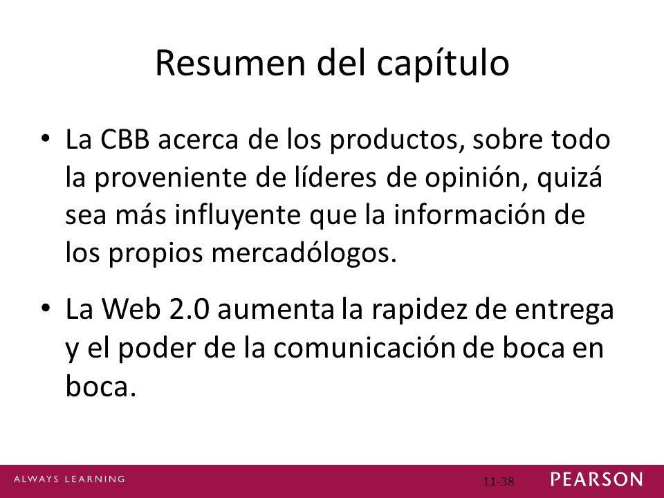 11-38 Resumen del capítulo La CBB acerca de los productos, sobre todo la proveniente de líderes de opinión, quizá sea más influyente que la informació