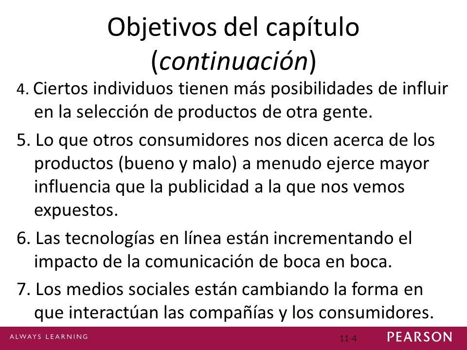 11-4 Objetivos del capítulo (continuación) 4. Ciertos individuos tienen más posibilidades de influir en la selección de productos de otra gente. 5. Lo
