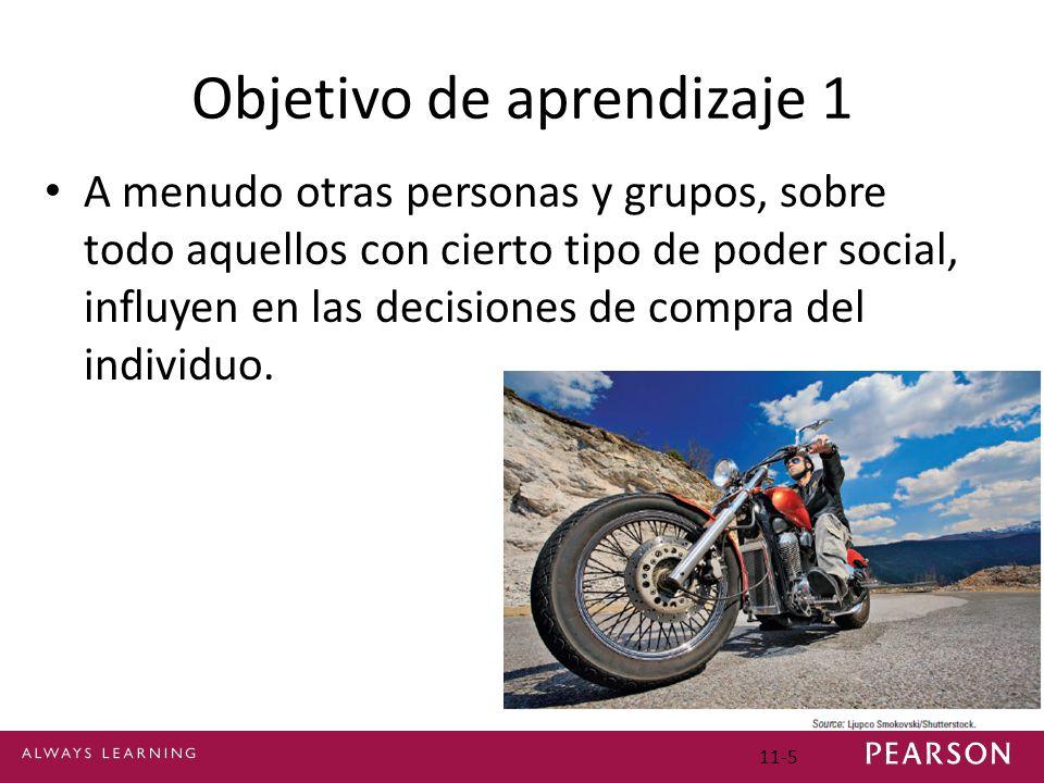 Objetivo de aprendizaje 1 A menudo otras personas y grupos, sobre todo aquellos con cierto tipo de poder social, influyen en las decisiones de compra