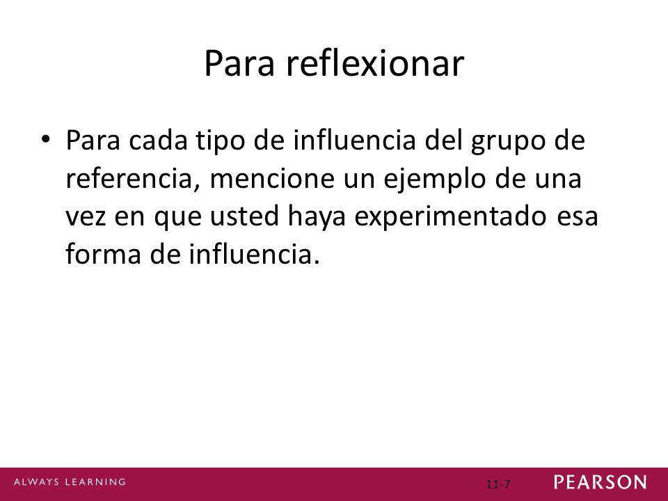 Para reflexionar Para cada tipo de influencia del grupo de referencia, mencione un ejemplo de una vez en que usted haya experimentado esa forma de inf