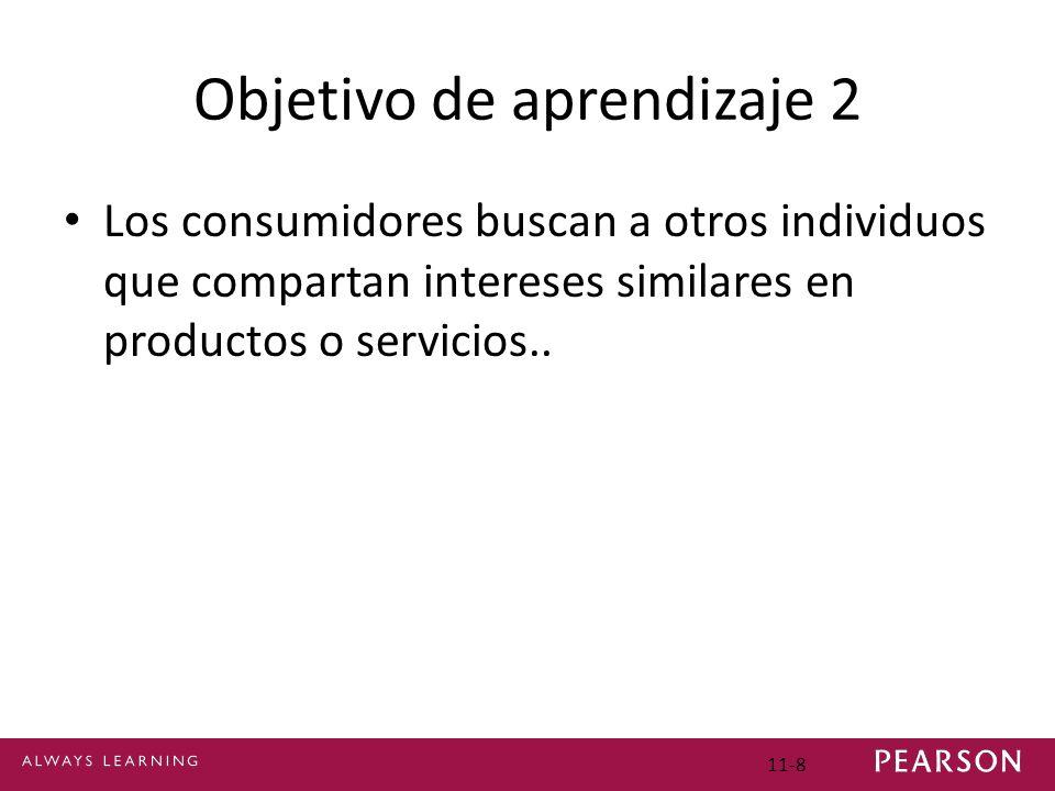 Objetivo de aprendizaje 2 Los consumidores buscan a otros individuos que compartan intereses similares en productos o servicios.. 11-8