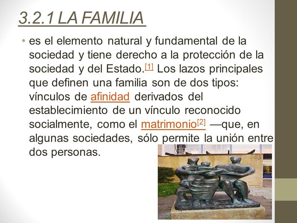 3.2.1 LA FAMILIA es el elemento natural y fundamental de la sociedad y tiene derecho a la protección de la sociedad y del Estado. [1] Los lazos princi