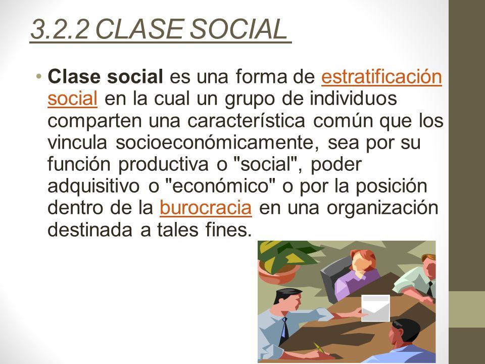 3.2.2 CLASE SOCIAL Clase social es una forma de estratificación social en la cual un grupo de individuos comparten una característica común que los vi