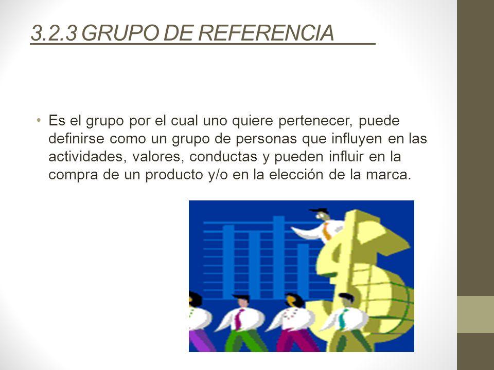 3.2.3 GRUPO DE REFERENCIA Es el grupo por el cual uno quiere pertenecer, puede definirse como un grupo de personas que influyen en las actividades, va