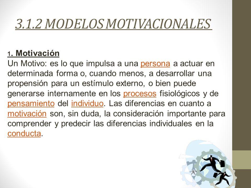 3.1.2 MODELOS MOTIVACIONALES 1. Motivación Un Motivo: es lo que impulsa a una persona a actuar en determinada forma o, cuando menos, a desarrollar una