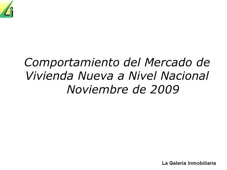 La Galería Inmobiliaria Comportamiento del Mercado de Vivienda Nueva a Nivel Nacional Noviembre de 2009