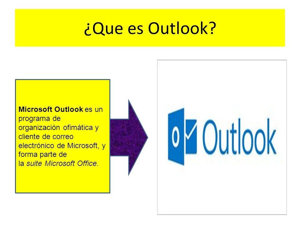 ¿Que es Outlook? Microsoft Outlook es un programa de organización ofimática y cliente de correo electrónico de Microsoft, y forma parte de la suite Mi