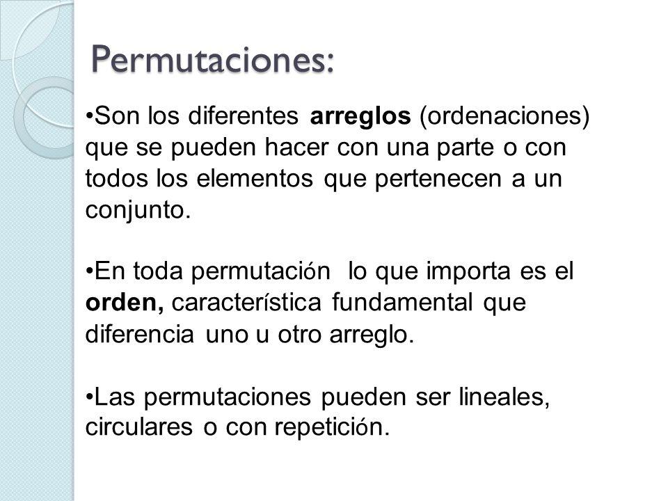 Son los diferentes arreglos (ordenaciones) que se pueden hacer con una parte o con todos los elementos que pertenecen a un conjunto. En toda permutaci