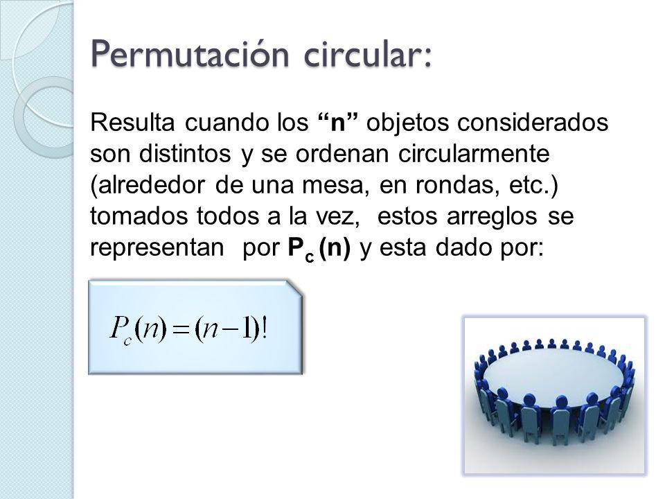 Resulta cuando los n objetos considerados son distintos y se ordenan circularmente (alrededor de una mesa, en rondas, etc.) tomados todos a la vez, es