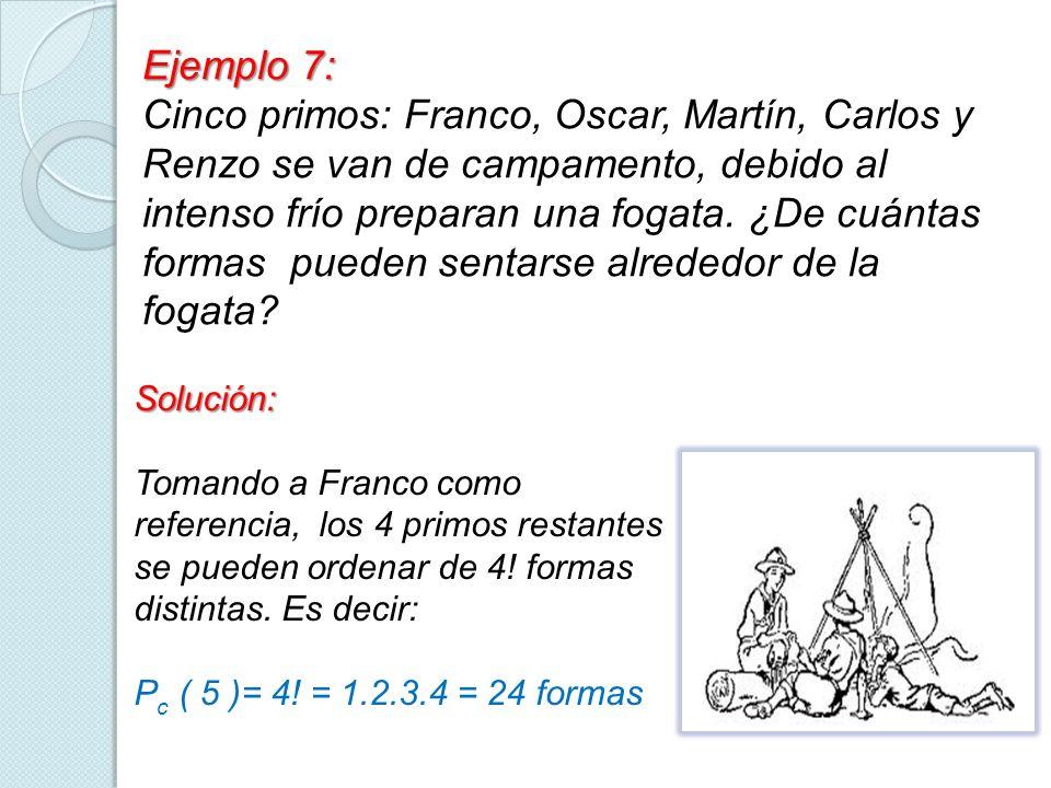 Ejemplo 7: Cinco primos: Franco, Oscar, Martín, Carlos y Renzo se van de campamento, debido al intenso frío preparan una fogata. ¿De cuántas formas pu