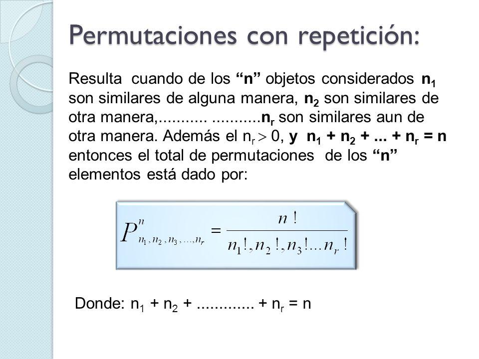 Resulta cuando de los n objetos considerados n 1 son similares de alguna manera, n 2 son similares de otra manera,......................n r son simila