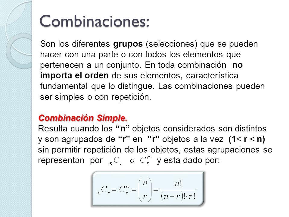 Son los diferentes grupos (selecciones) que se pueden hacer con una parte o con todos los elementos que pertenecen a un conjunto. En toda combinación
