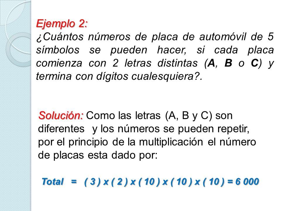 Ejemplo 2: ¿Cuántos números de placa de automóvil de 5 símbolos se pueden hacer, si cada placa comienza con 2 letras distintas (A, B o C) y termina co