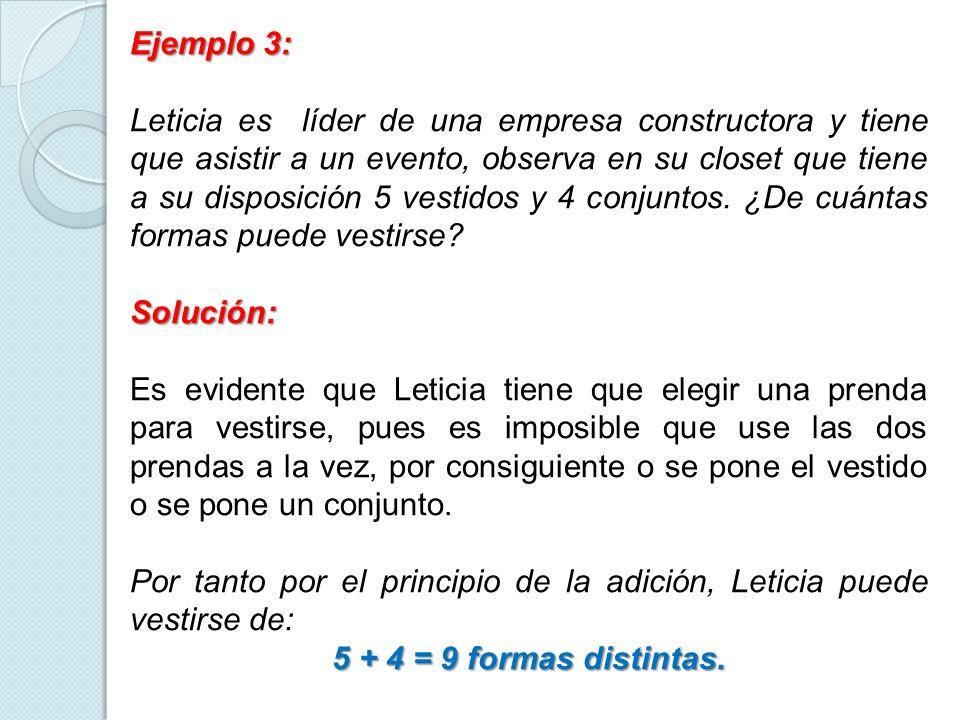 Ejemplo 3: Leticia es líder de una empresa constructora y tiene que asistir a un evento, observa en su closet que tiene a su disposición 5 vestidos y