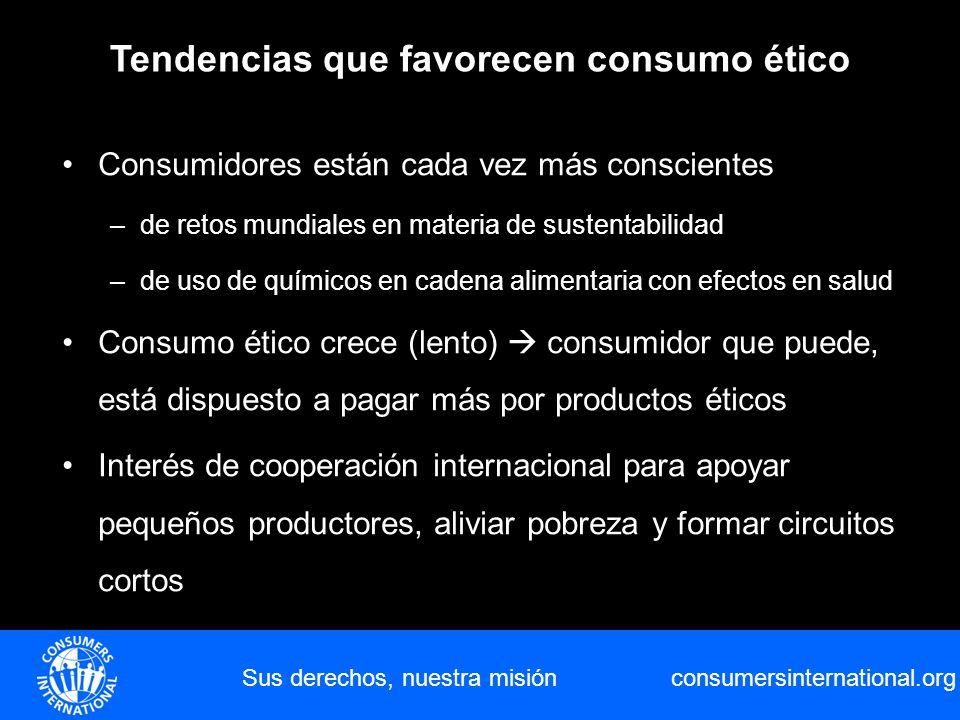 consumersinternational.org Sus derechos, nuestra misión Consumidores están cada vez más conscientes –de retos mundiales en materia de sustentabilidad