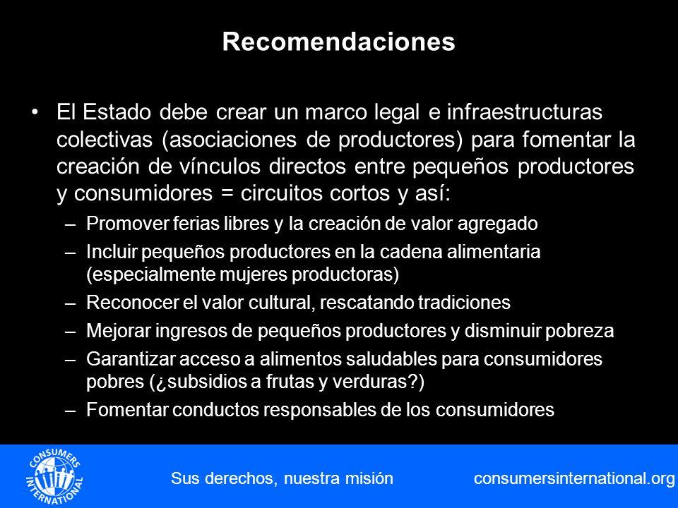 consumersinternational.org Sus derechos, nuestra misión Recomendaciones El Estado debe crear un marco legal e infraestructuras colectivas (asociacione