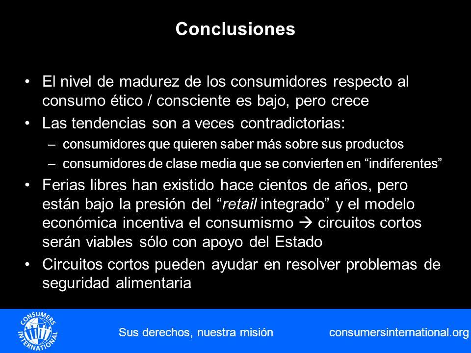 consumersinternational.org Sus derechos, nuestra misión Conclusiones El nivel de madurez de los consumidores respecto al consumo ético / consciente es