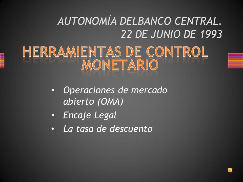 AUTONOMÍA DELBANCO CENTRAL. 22 DE JUNIO DE 1993 Operaciones de mercado abierto (OMA) Encaje Legal La tasa de descuento