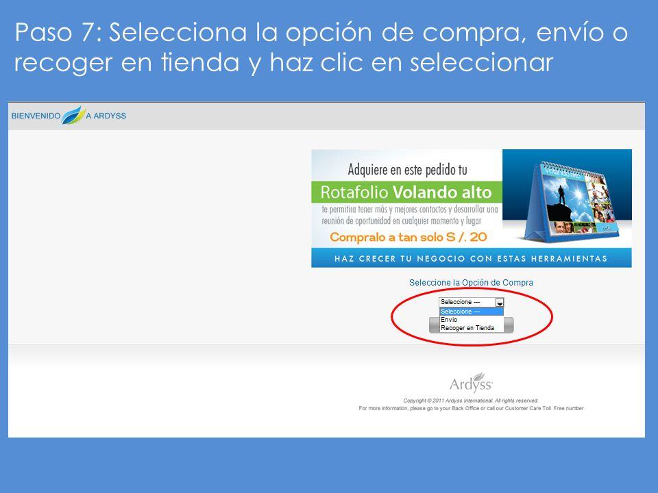 Paso 8: Solo para recoger en tienda escoge el centro de distribución y haz clic en seleccionar