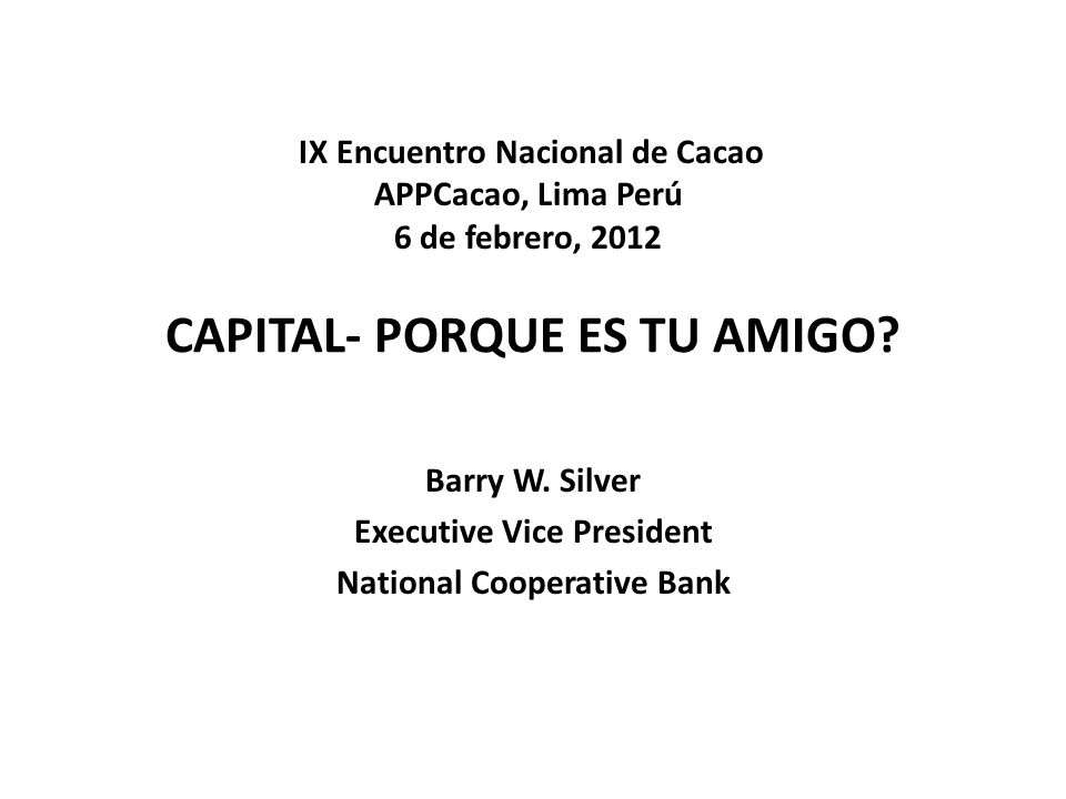 CAPITAL- PORQUE ES TU AMIGO. Barry W.