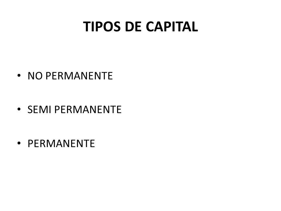 TIPOS DE CAPITAL NO PERMANENTE SEMI PERMANENTE PERMANENTE