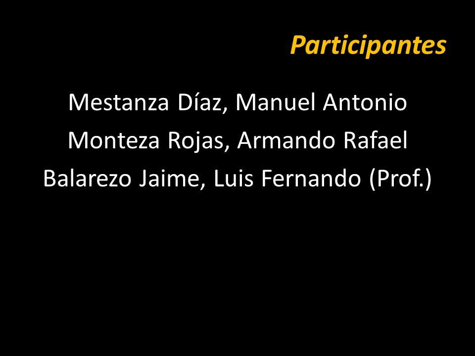 Participantes Mestanza Díaz, Manuel Antonio Monteza Rojas, Armando Rafael Balarezo Jaime, Luis Fernando (Prof.)
