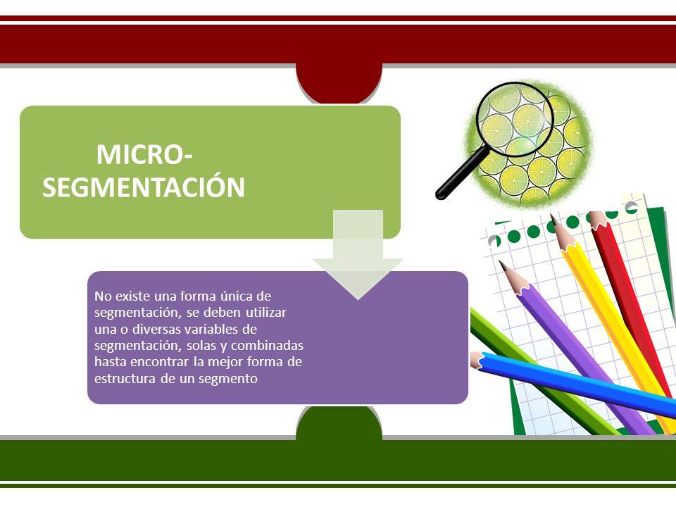 MICRO- SEGMENTACIÓN No existe una forma única de segmentación, se deben utilizar una o diversas variables de segmentación, solas y combinadas hasta en
