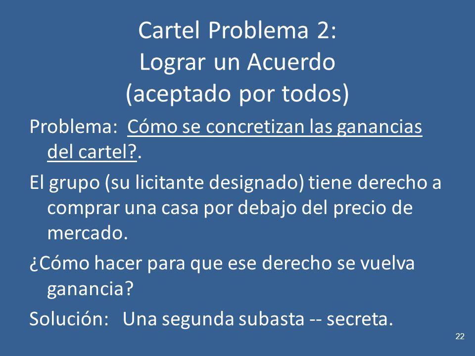 Cartel Problema 2: Lograr un Acuerdo (aceptado por todos) Problema: Cómo se concretizan las ganancias del cartel?.