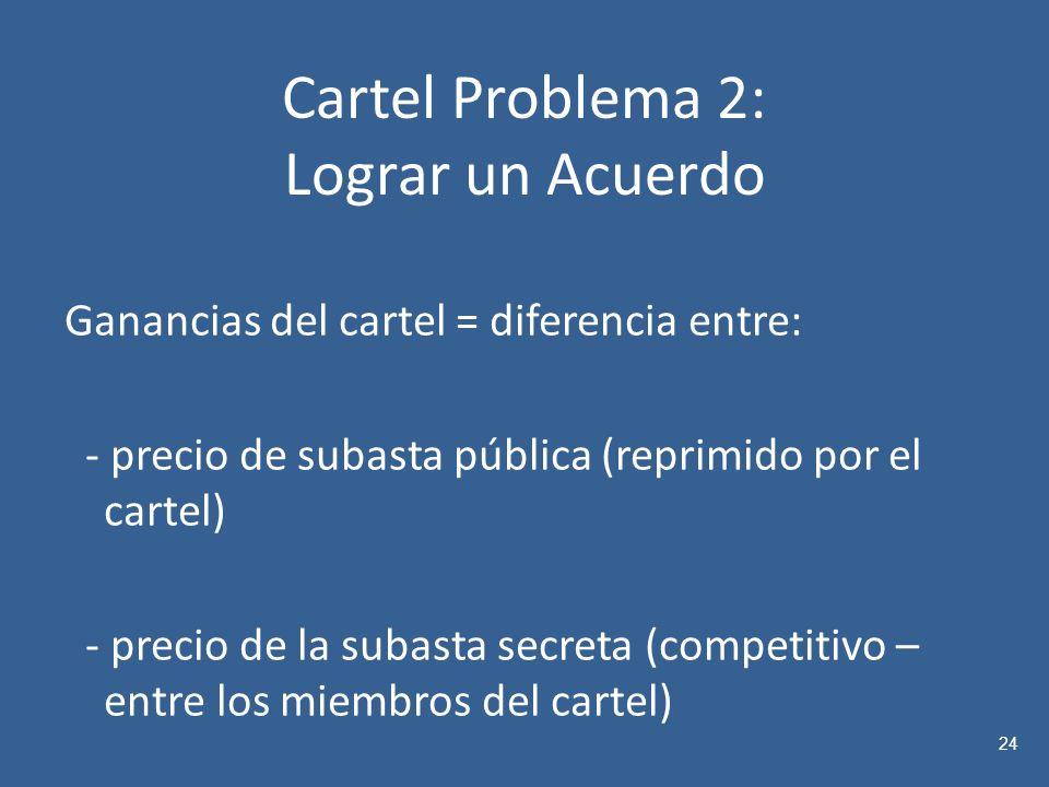 Cartel Problema 2: Lograr un Acuerdo Ganancias del cartel = diferencia entre: - precio de subasta pública (reprimido por el cartel) - precio de la subasta secreta (competitivo – entre los miembros del cartel) 24