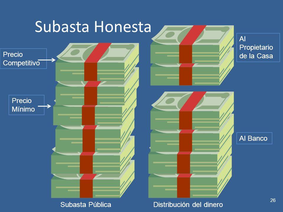 Subasta Honesta 26 Precio Mínimo Precio Competitivo Al Banco Al Propietario de la Casa Subasta PúblicaDistribución del dinero